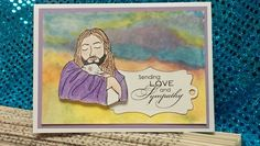 Good Sheperd stamp ( my own custom stamp);Stampin' Up sentiment; misc. die; color pencils and watercolors.