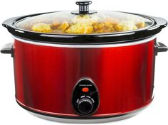 Andrew James 8 Litre Premium Red Slow Cooker Pot + Removable Ceramic Inner Bowl