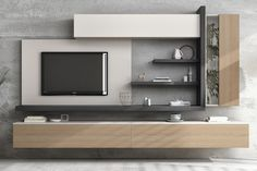 Living room furniture-Mueble de salón Modern furniture for living room or dining room. All its modules are hung on the wall. Thanks to its doors and. - My Website 2020