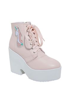 Put some magic in your step with these pastel pink and white wedge booties featuring a unicorn patch on the ankle, pink lace-up detailing and a side zip closure. Man-made materials Platform: heel: 4 Imported Listed in women's sizes Unicorn Fashion, Unicorn Outfit, Unicorn Dress Womens, Bright Summer Acrylic Nails, Kawaii Shoes, Barbie, White Wedges, Aesthetic Shoes, Latest Shoes