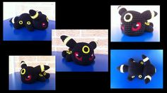 Baby Umbreon - Pokemon character - Free Amigurumi Pattern here: http://aphid777.deviantart.com/art/Baby-Umbreon-with-pattern-445647019
