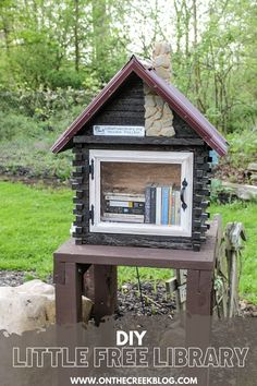 A unique Little Free Library located in Ohio. #sharebooks #littlefreelibraries #littlelibrary #littlefreelibrariesofinstagram #bookstagram #freelittlelibrary #bookbox #LittleFreeLibrary #bookaholic #igbooks #bookworm #reading #booknerd #booklove #ilovereading #instaread #bookish Little Free Libraries, Little Library, Free Library, Library Ideas, Rough Cut Lumber, Rural Area, Metal Roof, Log Homes, Fun Projects