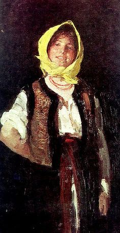 Nicolae Grigorescu was a key Romanian painter. He studied in France, where he was most influenced by the Barbizon school (which was characterized by realistic portrayals of rural life). This painting is titled Cheerful Peasant Woman Human Pictures, Portraits, Portrait Paintings, Art Database, Famous Artists, Online Art, New Art, Painting & Drawing, Art Gallery