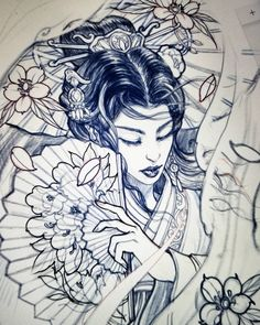 More revisions.. #sketch #drawing #illustration #sketchbookpro #ipadpro #irezumi #chronicink #asianink #tattoo#irezumi #asiantattoo #geisha