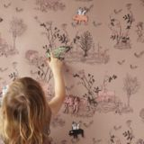 Sure it's technically for kids, but I think this would be great in an entryway! Sian Zeng Wallpaper - Magnetic Woodlands Pink