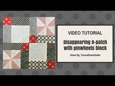 Video tutorial: double disappearing 9 patch block – Sewn Up Quilting Tips, Quilting Tutorials, Quilting Designs, Patchwork Quilting, Sewing Tutorials, Quilt Block Patterns, Pattern Blocks, Quilt Blocks, Disappearing Nine Patch