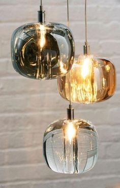 CUBIE Pendant Light — Best Goodie Shop - These Light Pendants features Amber, Smoke, or Clear hand-molded crystal shades with a Chrome finish. Special forming and cutting artistry is used to achieve the curvature frame of this drop Decor, Pendant Lighting, Interior Lighting, Rustic Lighting, Room Lights, Lamp, Light, Glass Pendant Light, Home Decor