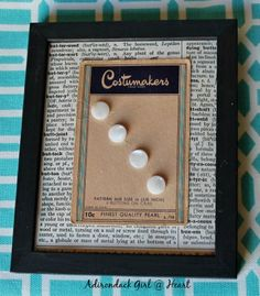 How to Display Your Vintage Buttons by Adirondack Girl @ Heart