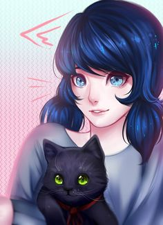 Marinette and her black cat from Miraculous Ladybug and Cat Noir Marinette Ladybug, Ladybug Anime, Miraclous Ladybug, Ladybug Comics, Miraculous Ladybug Wallpaper, Miraculous Ladybug Fan Art, Lady Bug, Miraculous Fanfic, Ladybug Und Cat Noir