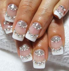 Bridal nail art design with real rhinestones 2013 best unique design ideas for wedding nails 2013 Fabulous Nails, Gorgeous Nails, Love Nails, Fun Nails, Pretty Nails, Amazing Nails, Ongles Bling Bling, Bling Nails, Glitter Nails