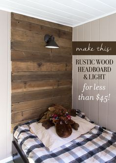 DIY Rustic Headboard and Light for $45 - clean, sand, and seal wood with Maison Blanche Co. clear matte varnish, Lowe's Portfolio Dovray Oi-Rubbed Bronze Dark Sky Outdoor Wall Light, Kedsum Wireless Remote Control Switch to turn light on and off, nail boards to wall, cutting a hole for the light