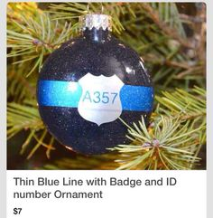 Thin Blue Line with Badge and ID number Ornament on Etsy Cop Wife, Police Officer Wife, Police Wife Life, Police Family, Holiday Fun, Christmas Time, Christmas Crafts, Christmas Bulbs, Christmas Ideas