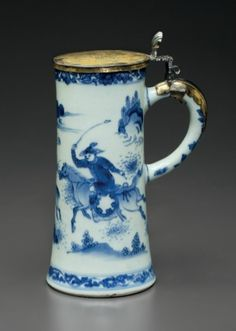 A silver-gilt-mounted blue and white tankard; the porcelain Chongzhen period, circa 1640, the mounts continental, late 17th century