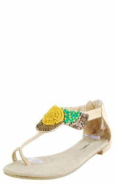 Cool Rocco8 Beaded Toe T-Strap Sandals CREAM