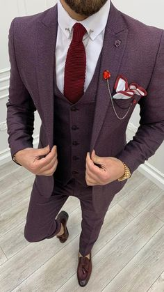 Mens Casual Suits, Formal Suits, Mens Suits, Wedding Suits, Red Wedding, Fashion Suits, Men Fashion, Three Piece Suit, Suit Vest