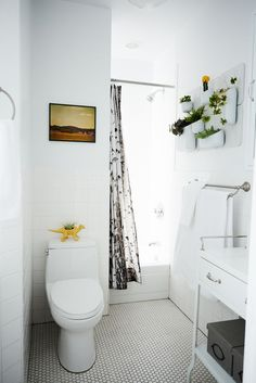 How To Make Your Place Look AWESOME #refinery29  http://www.refinery29.com/69347#slide-11  You can bleach your bathroom — go all white! All-white tiles and bathroom fixtures are classic, and when you add natural light and greenery you have the essence of purity. ...