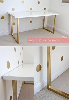 (Love the colors) project! I love me some and Ikea! [Gold Desk Ikea Hack / Just Bella] White Table Top, Diy Casa, Gold Spray Paint, Spray Paint Table, White Desks, White Desk With Gold Legs, White Desk Diy, White Gold Room, Ikea Hacks