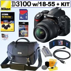 Nikon D3100 14.2MP Digital SLR Camera with 18-55mm f/3.5-5.6 AF-S DX VR Nikkor Zoom Lens + Nikon Gadget Bag + 8GB Accessory Kit by Nikon. $499.95. Nikon's affordable, compact and lightweight D3100 digital SLR features a high-resolution 14-megapixel CMOS DX sensor and intuitive onboard assistance including the learn-as-you grow Guide Mode. Capture beautiful pictures and amazing Full HD 1080p movies with sound and full-time autofocus. Easily capture the action other cam...