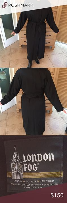 London fog trench coat Black London fog trench coat. Only worn twice . Great condition . London Fog Jackets & Coats Trench Coats