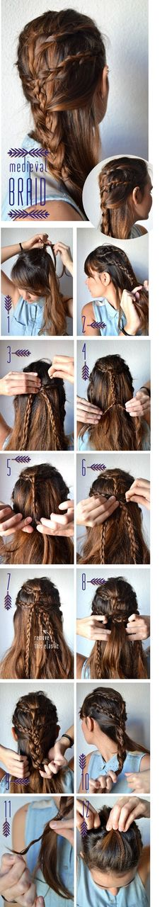 Medieval Braid Make a ponytail using a breakable elastic. Steps 2 through 11 work as it looks. When you get to stage make sure all braids are twisted well. Secure step 12 with another elastic that holds all braids together. Braided Hairstyles Tutorials, Pretty Hairstyles, Mermaid Hairstyles, Hairdos, Diy Hairstyles, Nappy Hairstyle, Medieval Hairstyles, Beauty Tutorials, Hair Tutorials