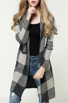 Checked Hooded Long Sleeves Pockets Long Cardigan