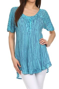 Sakkas 787New - Zoya Marbled Embroidery Cap Sleeves Blouse / Top - Turquoise - OS