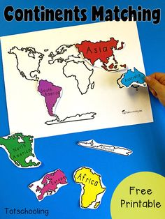 FREE geography matching activity with the 7 continents of the world. Perfect for… FREE geography matching activity with the 7 continents of the world. Perfect for toddlers, preschoolers and kindergarten to introduce the continents. Continents Activities, Geography Activities, Geography For Kids, Teaching Geography, Montessori Activities, Geography Classroom, Montessori Materials, History Classroom, History Education