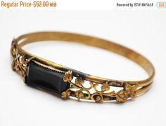 Brass Floral Bangle -Jet Black Glass - gold brass floral filigree - Art Deco - Bracelet -Art Nouveau
