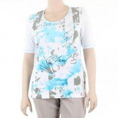T-shirt imprimé avec quelques strass, grande taille : de 42 à 52 FR. de la marque Léa H Curve.  #tshirt #LéaHCurve #mesboutiquesgrandetaille