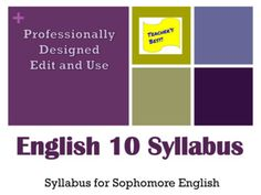 Sophomore English Syllabus - Edit and Use English 10 Contract by Teachers' Best High School Activities, School Resources, World Literature, High School English, Classroom Rules, Teaching English, Middle School, Teacher, Student