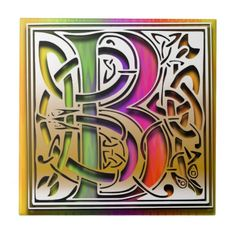 """B Monogram Tile """"Celtic Rainbow"""" design. 4.25"""" and 6"""" square sizes, glossy finish. premium quality. Accent any room in your home and office with a tile inlay decorative box, trivet, or make it a part of your tile works projects. Use single initials, create a monogram or spell out your favorite quote.    http://www.zazzle.com/b_celtic_rainbow_custom_monogram_tile-227617210243644329?rf=238301468915483943 #Monograms #Tiles #Celtic #Rainbow #DecorativeBoxes #HomeDecor #MonogramTiles"""