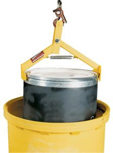 """The Crane/Hoist Drum Lifter has an automatic mechanical operation. Great for positioning, drums in and out of overpacks. Steel construction with spring loaded arms for safety. Accommodates steel, plastic or fiber drums. Overall dimensions are 16""""W x 91/2""""L x 211/2"""". Drums weighing over 500 lbs. must have top lid secured before lifting."""