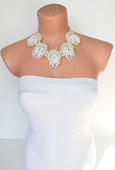 Ivory Wedding Statement Necklace with Glass Pearl by BridalLife, $55.00