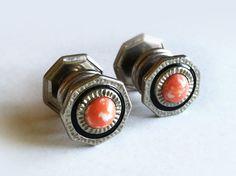 Art Deco Cufflinks / 1920's Cabochon Stone Snap Link Cufflinks / Snap Cufflinks / Antique Cuff Buttons / Vintage Cufflinks