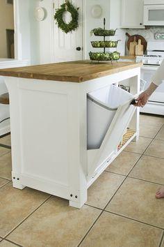 13 DIY Kitchen Island Woodworking Plans: DIY Kitchen Island With Trash Storage from Shades of Blue