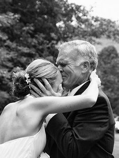 """Photo with Dad kissing bride's forehead - I wonder if Jon could hold it together for a photo like this? Also, be sure to take a photo of Dad moving the girls' """"promise rings"""" from their left hand to the right. Sweet! :)"""