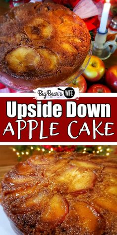 Brown Sugar Upside Down Apple Cake - This Brown Sugar Upside Down Apple Cake is a old fashioned apple cake with a modern shortcut in the ingredients list! It's beautiful, delicious and super easy to make! Apple Spice Cake, Easy Apple Cake, Fresh Apple Cake, Spice Cake Mix, Apple Cake Recipes, Cake Mix Recipes, Veggie Recipes, Apple Pie, Slow Cooker Recipes Dessert