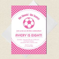 Pink Soccer Party Invitation