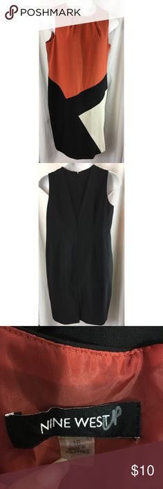 Nine West dress sz 16 career sleeveless lined zips Nine West dress sz 16 black brown tan career sleeveless lined zips Women's Size:  16 Approx measurement:armpit to armpit - 21 1/2 inches; length - 40 1/2 inches Fabric content: 62% polyeter, 34% viscose, 4% elastane dry clean Gently used - see pictures Nine West Dresses