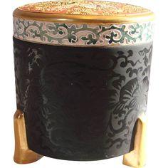 Japanese Asian Satsuma Footed Tall Round Box Unusual Meiji Pre-1900