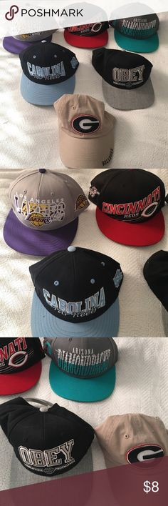 """Snap back hats Multiple hats, SnapBack so they're all adjustable!! All in great condition! LA lakers hat: gray purple and yellow, Cincinnati Reds hat: black red and white, Arizona Diamondbacks hat: gray teal and white, Carolina Tar Heels hat: baby blue light blue and white, Obey hat: """"worldwide propaganda"""" black and gray, Georgia Bulldogs hat: (Velcro) tan red and black!! $8 each, 2 for $14, 3 for $21! (Bundles of 3 or more get 10% off!) Accessories Hats"""