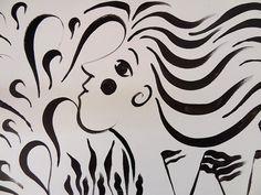 """Une photo prise dans la galerie L'Ecurie de l'hôtel de Guines, à Arras, lors de l'exposition """"Accords majeurs"""" du collectif Artzimut. Se mêlaient dans cette galerie des oeuvres de Sophie Huet (meubles, objets) et de Hafem (bandes, panneaux, plaques). Les Oeuvres, Calligraphy, Photos, Sign, Radiation Exposure, Furniture, Objects, Paper, Lettering"""