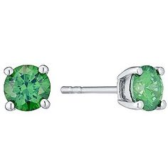 Green Cubic Zirconia stud earrings, May's birth colour, set in a four claw setting. Classic style earrings for every occasion.