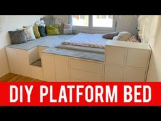 Diy Platform Bed With Drawers Ikea - Platform Bed With Drawers, Bed Platform, Ikea Platform Bed Hack, Diy Storage Platform Bed, Ikea Furniture Makeover, Diy Furniture, Ikea Makeover, Furniture Cleaning, Furniture Market