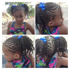 Cornrowed ponytails with twists. From beadsbraidsbeyond facebook page.