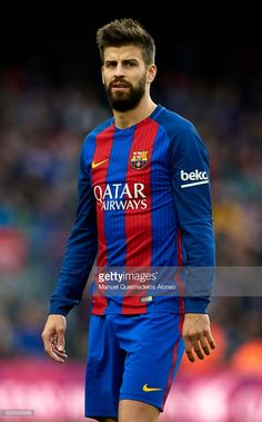 Gerard Pique of Barcelona looks on prior to the La Liga match between FC Barcelona and Athletic Club at Camp Nou Stadium on February 4, 2017 in Barcelona, Spain.
