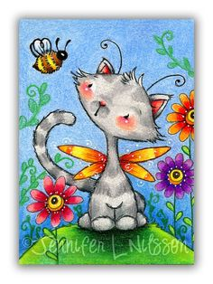 ACEO Print - Catterfly and Bee - Spring cat fairy whimsical fantasy animal art card print