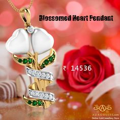 Your love will blossom by gifting our White onyx Blossomed Heart Pendant to your love ones on this Valentine's Day. The pendant blossomed with two hearts with each other by CZ stones. Valentine Day Offers, Valentines Day Hearts, Heart Earrings, Gold Pendant, Swirls, Gold Jewelry, Heart Pendants, Christmas Ornaments, Gifts