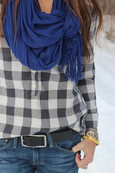 cobalt / gingham / denim / outfit