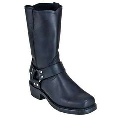 Dingo Dean Black Leather Harness Boots DI19057
